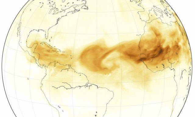 Ola de polvo afircano sobre el Atlántico