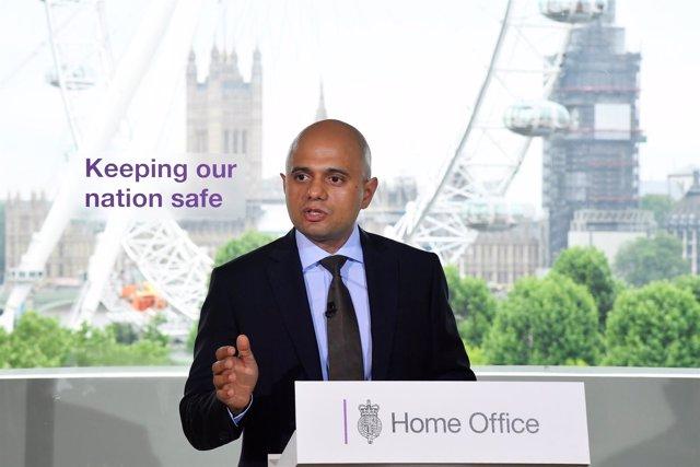 El ministro del Interior británica, Sajid Javid, en una comparecencia