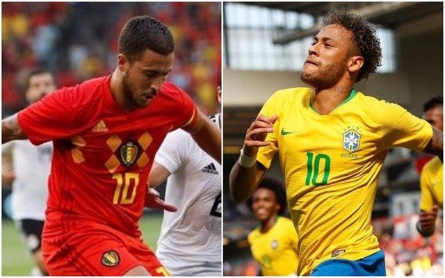 Hazard (Bélgica) y Neymar (Brasil)