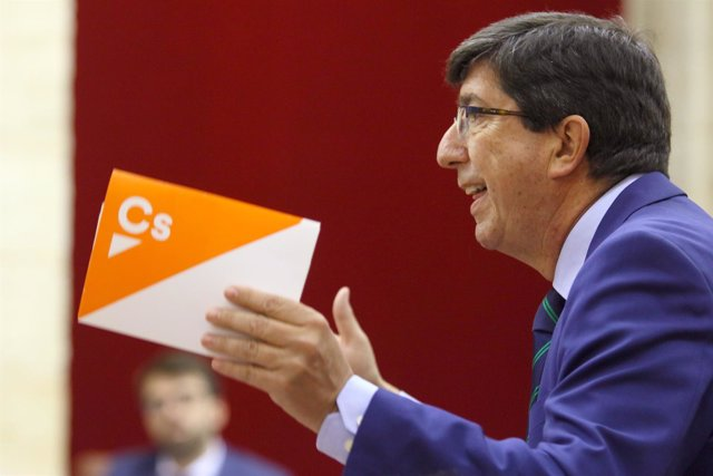 El presidente y portavoz parlamentario de Ciudadanos (Cs) Andalucía, Juan Marín