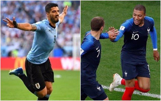 Luis Suárez (Uruguay) reta a Mbappé y Griezmann (Francia)