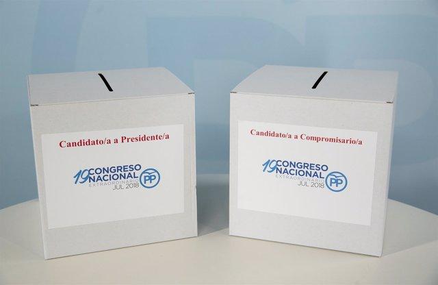 Urnas de votación del PP