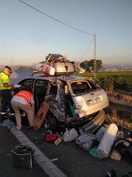 Imagen del estado en el que ha quedado el vehículo