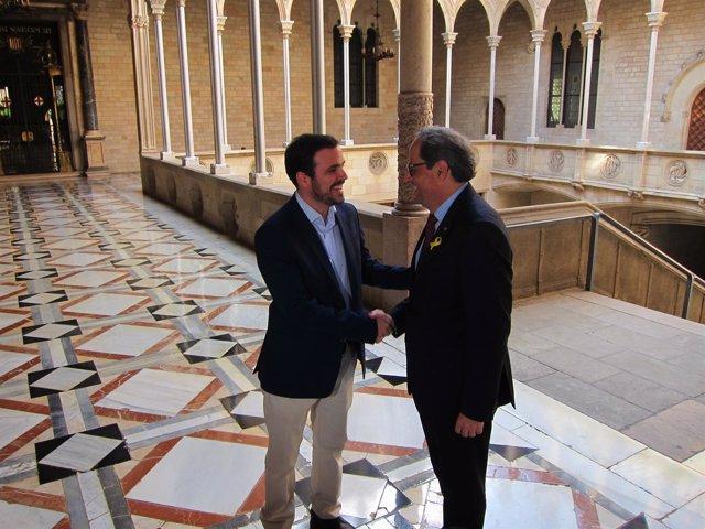 El líder de IU, A.Garzón, y el pte.Q.Torra