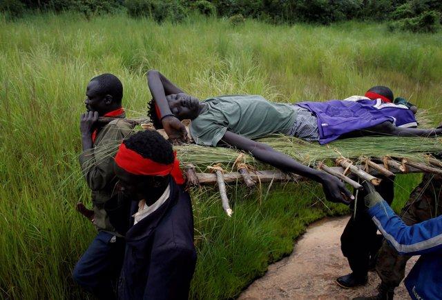 Sudán del Sur, herido en combate