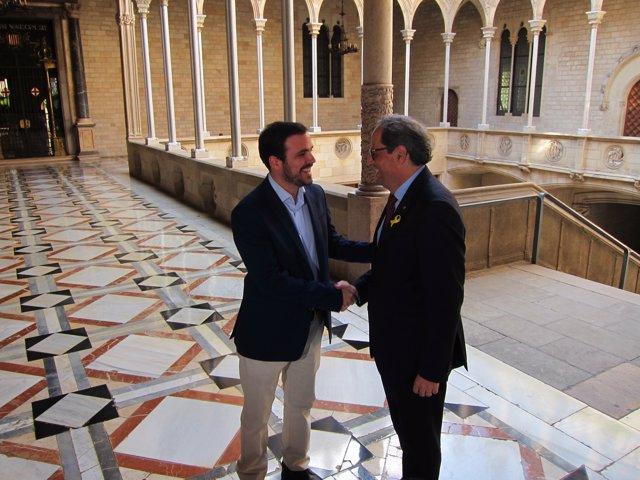 El líder d'IU, A. Garzón i el president, Q. Torra