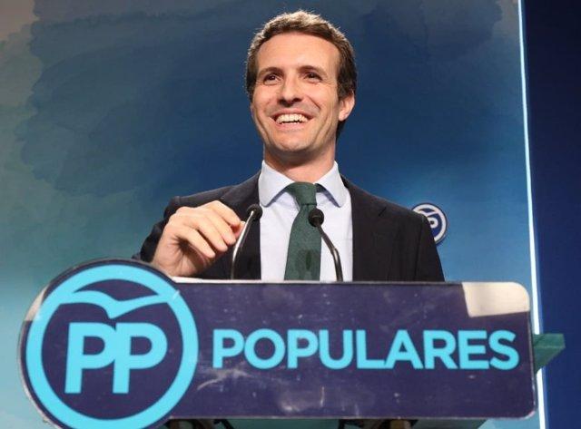 Pablo Casado en Génova tras quedar en segunda posición en las primarias del PP