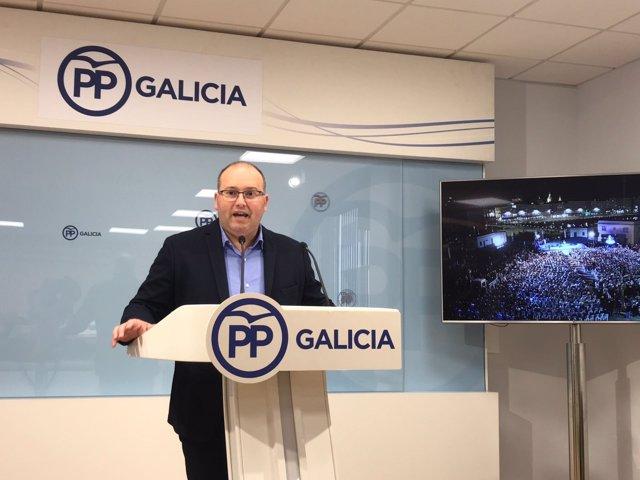 Miguel Tellado, secretario general del PP gallego, en rueda de prensa