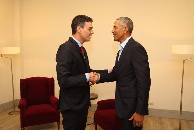 Sánchez se reúne en Madrid con el expresidente de EEUU Barack Obama