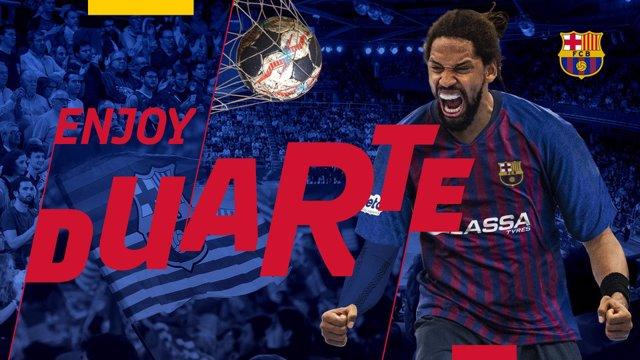 El nuevo jugador del FC Barcelona Lassa de balonmano Gilberto Duarte
