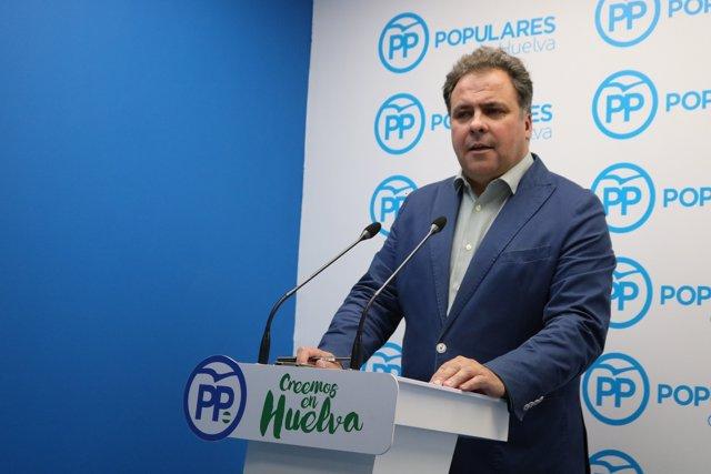 El portavoz de la Dirección Provincial del PP de Huelva, Juan Carlos Duarte