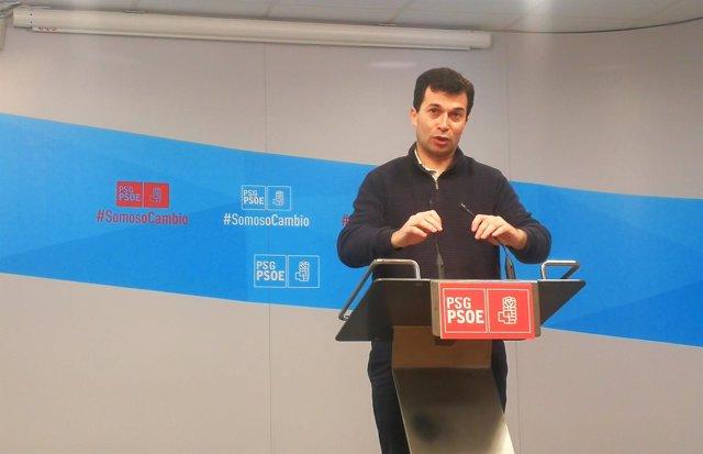 Rueda de prensa del secretario xeral del PSdeG, Gonzalo Caballero.