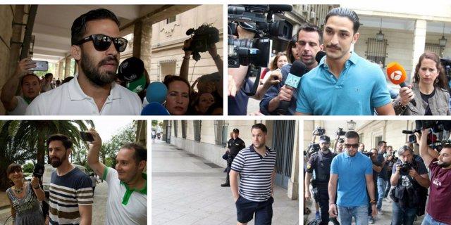 Los miembros de La Manada acuden a firmar a los juzgados de Sevilla