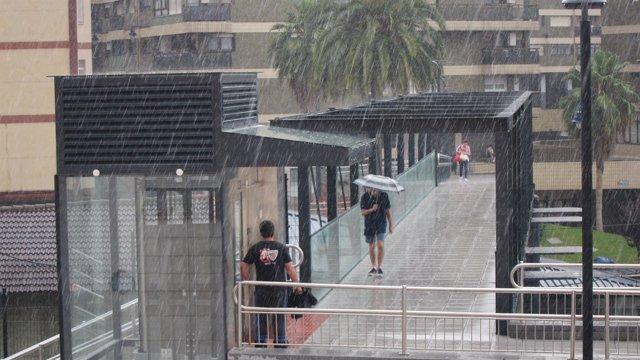 Imagen de Archivo. Episodio de lluvias del pasado miércoles en Bizkaia.