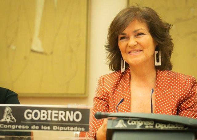 La vicepresidenta Carmen Calvo comparece en el Congreso