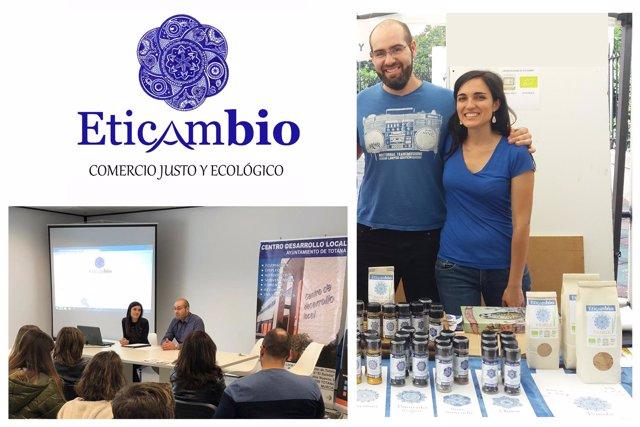 Logo de Eticambio. Miguel y Rocío en una charla de concienciación y una feria