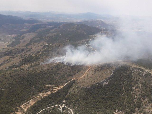 Incendio entre Ibi y Onil (Alicante)
