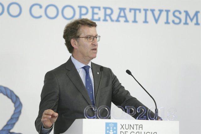 Feijóo durante su discurso en el Día do Cooperativismo Galego 2018.