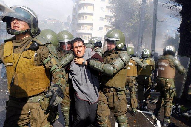 Detenido durante los graves disturbios en Valparaiso