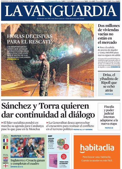 Las portadas de los periódicos de hoy, domingo 8 de julio de 2018