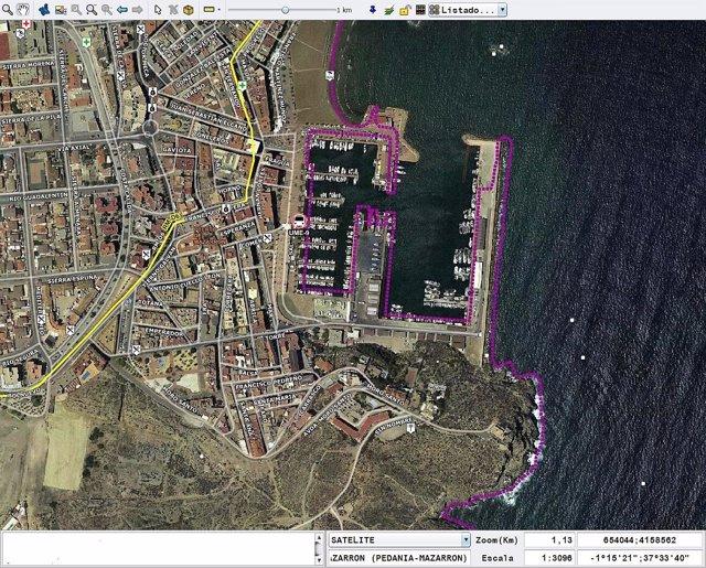 Mapa del puerto de Mazarrón donde han tenido lugar los hechos