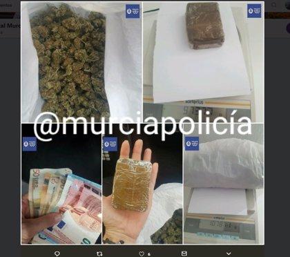 La Policía Local de Murcia detiene a dos personas en Algezares por traficar con hachís y marihuana