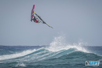 Yentel Caers, ganador del Campeonato Europeo de Windsurf en la categoría Freestyle de Lanzarote