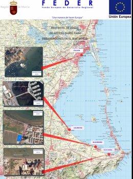 Mapa con los cuatro puntos de acceso a embarcaciones de recreo en el Mar Menor