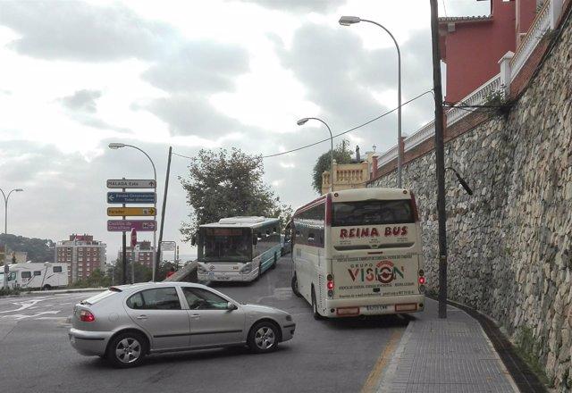 Autobuses acceso a Gibralfaro problemas obras Apetam tráfico málaga