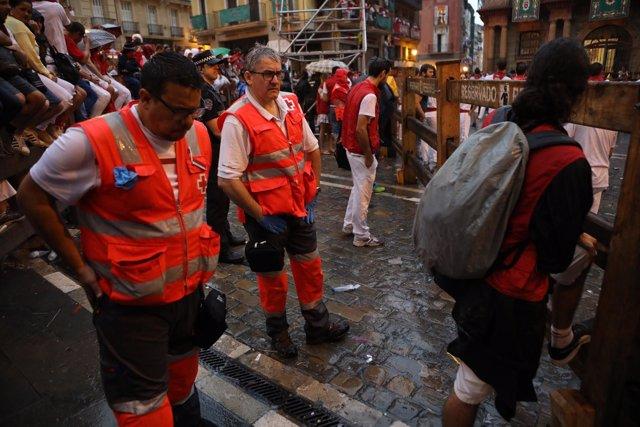 Cruz Roja Navarra en el encierro de Sanfermines.
