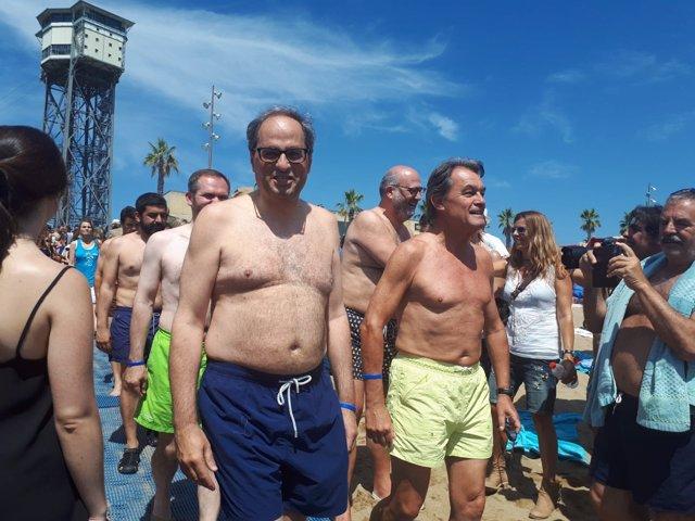 El presidente Quim Torra y Artur Mas en el 'Mulla't per l'Esclerosi Múltiple'