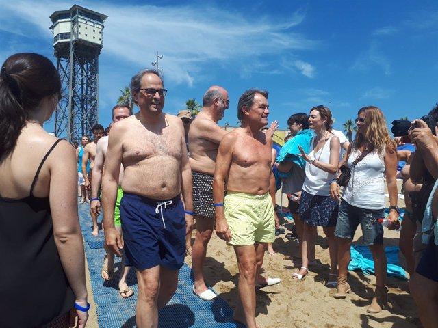 Quim Torra y Artur Mas en la fiesta 'Mulla't per l'escleròsi múltiple'