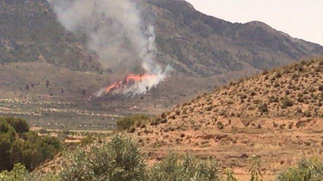 Imagen del incendio declarado en el Cerro del Oro