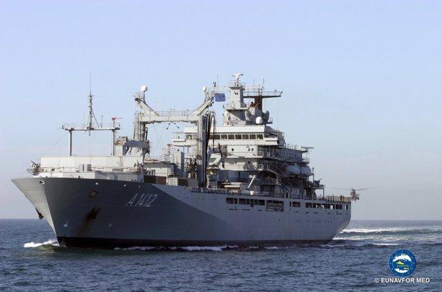El buque alemán 'Frankfurt' de la misión EUNAVFOR Sophia