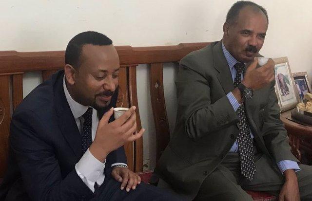 Abiy Ahmed, y el presidente de Eritrea, Isaia Afwerki