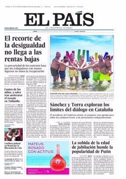 Portada El País 9 de julio 2018