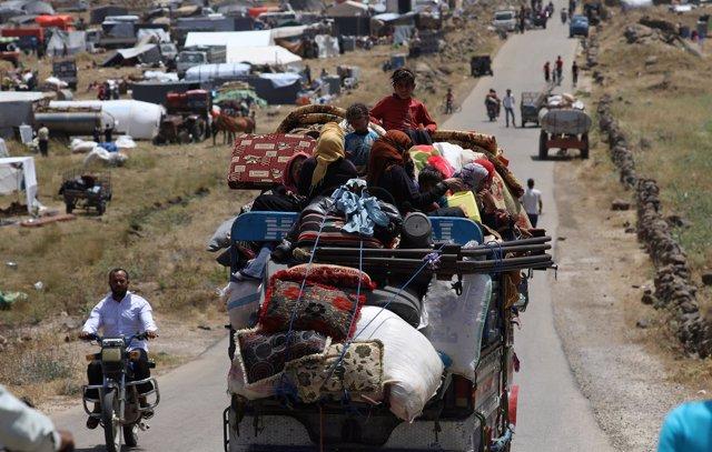Desplazados internos de Deraa en Quneitra