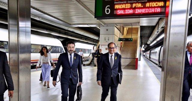 El presidente catalán Quim Torra a punto de coger el AVE a Madrid