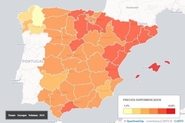 Mapa barómetro precios supermercados online