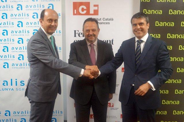 Josep Lores (Avalis), Josep-Ramón Sanromà (ICF) y Miquel Capdevila Mulet (Bankia