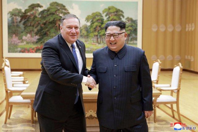 Mike Pompeo y Kim Jong Un
