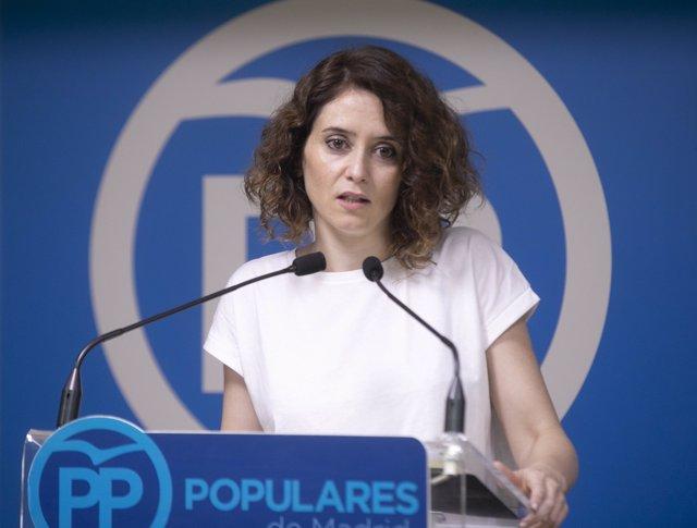 Isabel Díaz Ayuso, portavoz del PP de Madrid