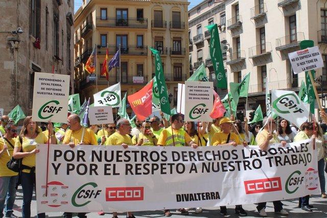 Protesta CSIF y CCOO por Divalterra