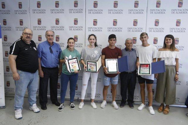 Los cuatro jugadores de Almería que se han proclamado campeones de España.