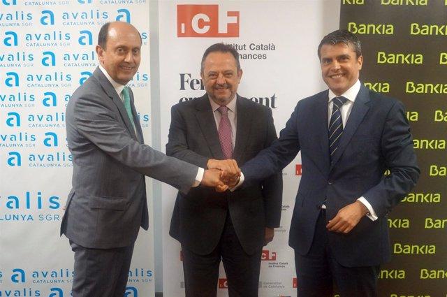 Josep Lores (Avalis), Josep-Ramon Sanromà (ICF) y Miquel Capdevila (Bankia)