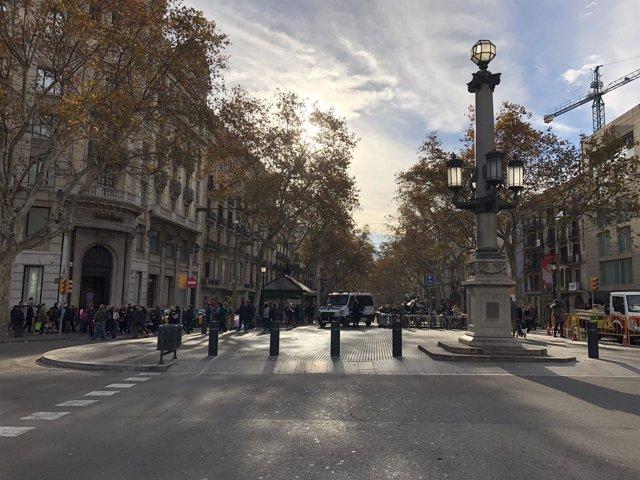Parte superior de la Rambla de Barcelona