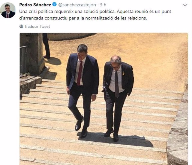 Tuit de Pedro Sánchez y Quim Torra