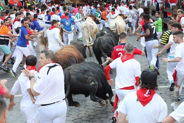 Cuarto encierro de Sanfermines 2018 con toros de Fuente Ymbro.