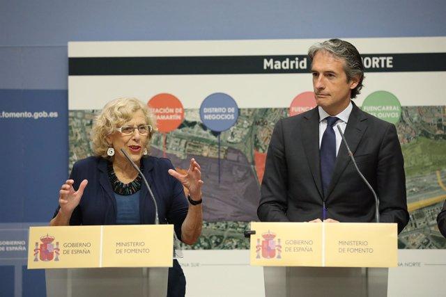 Manuela Carmena e Íñigo de la Serna en la presentación de la Operación Chamartín