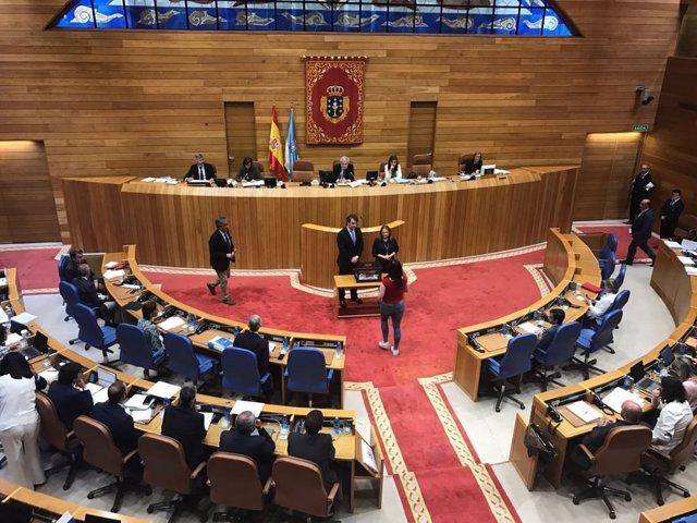 Votación sobre el cese de la valedora con Pedro Puy Fraga, portavoz del PPdeG